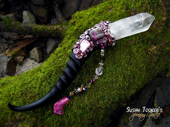 Magic Crystal Wand Pink Himalayan Rose Quartz Ruby Feldspar Pagan Altar Reiki Wiccan Springbok Horn MORGANA ROSEWING by Spinning Castle