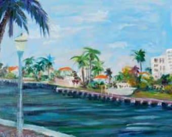 KeROBinson Art Original Oil painting Delray Beach Inter-coastal en plein air