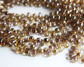 100pcs Czech Glass Tear Drops-Luster Transparent Gold/Smoky Topaz 6x4mm (6415695) (B-17-17)