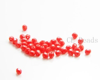 100pcs Czech Fire Polish Glass Faceted Round-Opaque Red 4mm (FP4802)
