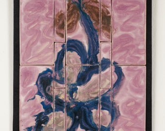 Tile Wall Art Purple Hanging Flower