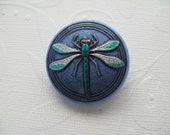 30mm Czech Glass Dragonfly Button, Hand painted body on Opaque Denim Blue background- B/030