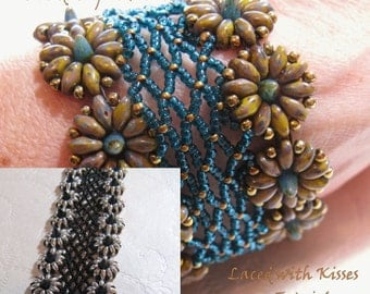 Laced with Kisses Bracelet PDF Tutorial, uses Baby Czech Bohemian Spike Beads and Czech Bohemian Twin or Super Duo Beads