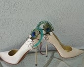 Peacock Sword And Eye With Aubergine Feather and Rhinestone Shoe Clips Set
