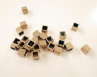 12g about 50 pieces of  vintage square raw brass cube bead tube 4 x 4 x4  mm