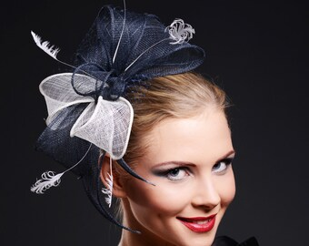 Fascinator  White Navy Blue Large for Weddings and other special occasions