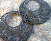 diy jewelry supply, EBONY black on large lacy antique bronze round hoop filigrees 4 pcs, earring findings, hoop filigree, hoop connector