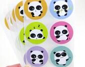 Panda Stickers (6 designs) - 1.5 inch round envelope seals STKM040 (set of 30)