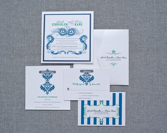 Vintage Navy and Green Pocket Wedding Invitations | Sarah & Drew