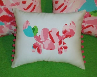 New Made To Order Crab Pillow made withAuthenitc Lilly Pulitzer fabrics, over 30 prints available