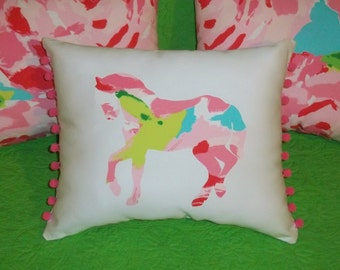 New custom Made To Order Horse Pillow made with Your Choice of over 30 new, AUTHENTIC Lilly Pulitzer fabric