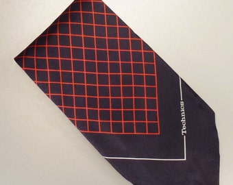 Designer TECHNICS Neck TIE SILK Corporate  Design  1980s  Dead Stock  57x 4plus in