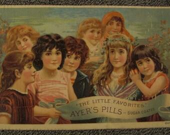 Victorian ad 1900s TRADE CARD AYERS Pills Sarsaparilla smiling girls  chromolithograph Lowell Mass