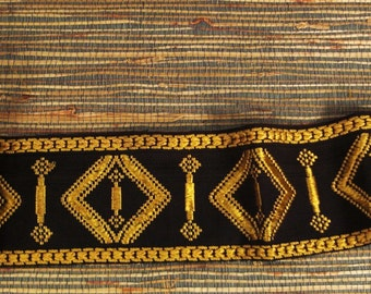 Victorian Ribbon TRIM BROCADE Woven GOLD and Black with Fringe  31 X 4