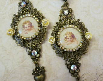 peach victorian cameo earrings