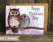 Owl Mom and Owlet Mother's Day Card