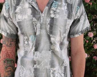 Vintage Grey Hawaiian Mens Shirt. 60's Mens Surfer Shirt. Tiki. VLV.