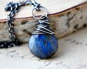 Thunder Necklace Gemstone Jewelry Labradorite Midnight Celestial Blue Gray