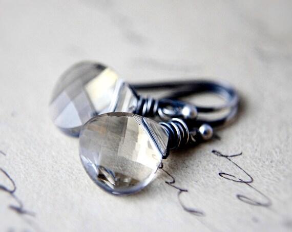 Crystal Earrings, Crystal Jewelry, Swarovski Crystal, Sterling Silver, Crystal Shade, Drop Earrings, Dangle Earrings, Taupe, PoleStar