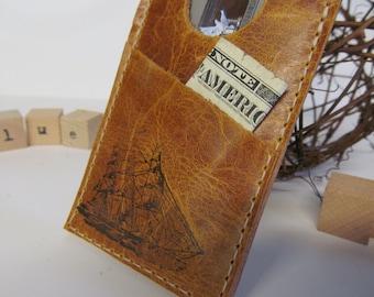 Leather Card wallet -  metro Card Wallet - minimalist wallet -Personalize Monogram