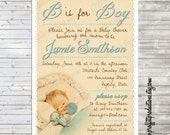 Sweet vintage baby custom baby shower invitation - digital file