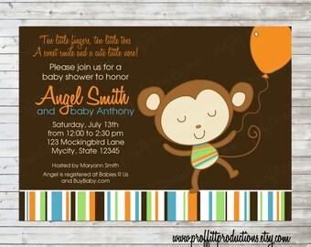 Party Monkey custom baby shower invitation - digital file