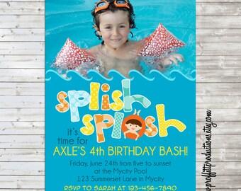 Splish Splash custom photo birthday party invitation - digital file