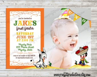 Vintage Fiesta photo birthday party invitation in Mexican colors - digital file