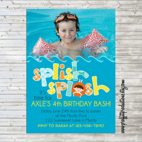 Splish Splash custom photo birthday party invitation - digital file