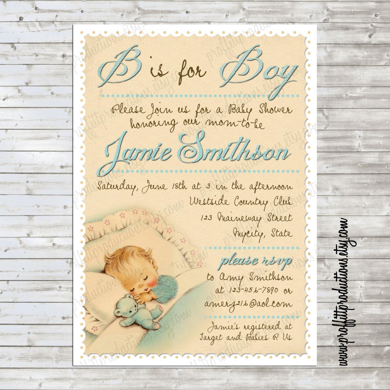 Vintage Baby Boy Shower Invitations Choice Image - Invitation ...