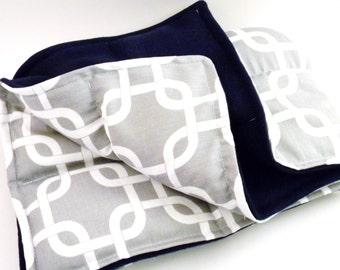 XL Large Heating Pad,  Microwave Heat Pack Cold Pack, Heat Bag rice flax, Grandpa gift, Dad gift, gray white navy