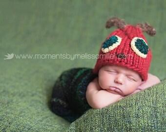 Baby Hat Set, Caterpillar Newborn Cocoon Hat Set, Newborn Photo Prop, Baby Hat Set, Knit Baby hat, newborn hat, Knit Photo Prop