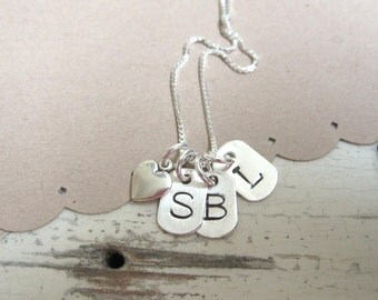 Initial Necklace ... One, Two or Three Tiny Dog Tag ... Personalized Jewelry ... Hand Stamped Necklace ... Personalized Necklace
