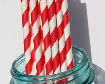 Paper Straws, 25 Red Striped Paper Straws, Party, Wedding, Shower