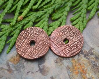 Handmade Copper Fine Weave Discs (1 pair)