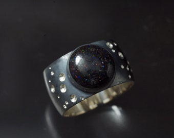 Hubble's Constant Star Pattern Ring with Round Opal