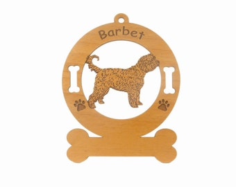 1434 Barbet Dog Standing Personalized Wood Ornament