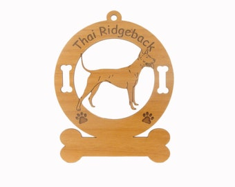4162 Thai Ridgeback Dog Standing Personalized Wood Ornament - Free Shipping