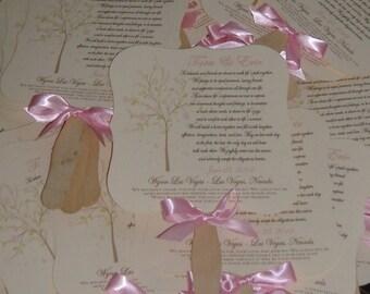 Cherry Blossom, Cherry Blossom Program, Wedding Fan, Wedding Fans with Program, Cherry Blossom Fan - set of 60 -