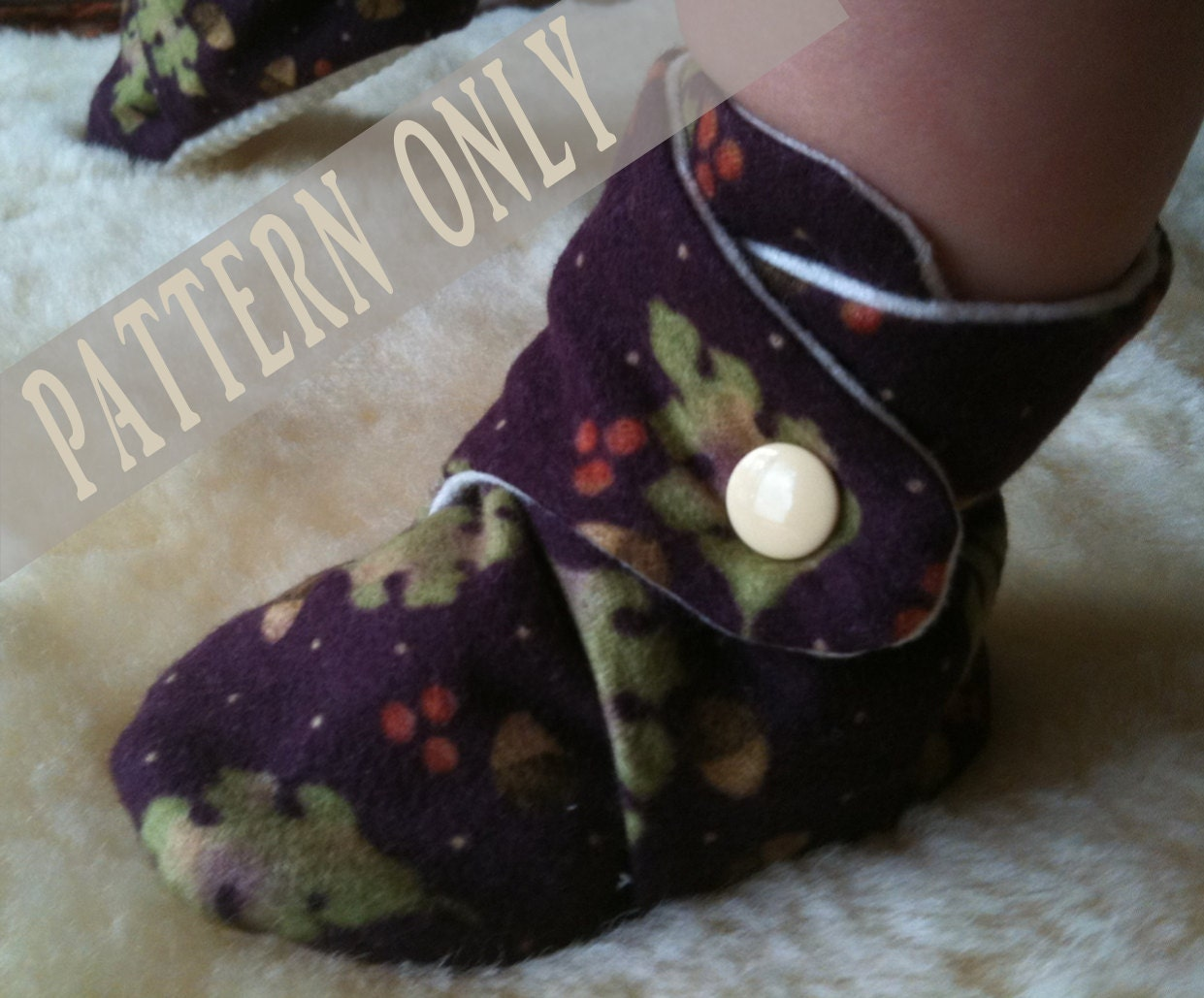 PATTERN & Tutorial for Baby Booties Soft Shoes with Gripper