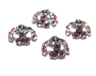Sale! - Vintage Swarovski Crystal  Rhinestone Bead Caps Rose Pink  - Silver Plated (4)