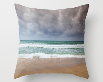 Ocean Beach Accent Pillow Cover, beach photography, Allover Print 16 X 16 in. Beach Wedding, Summer, Ocean, Sea