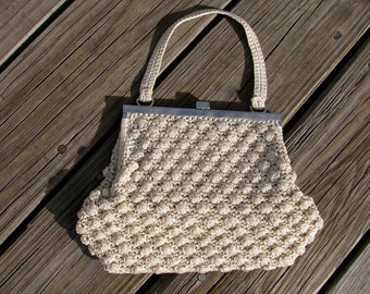 Lovely Vintage 1970s Macrame Bag With Silver Square Clasp