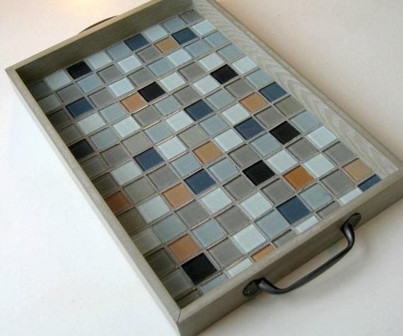 Mosaic Wood Serving Tray Grey Upcycled Tray Tiled Wood Tray
