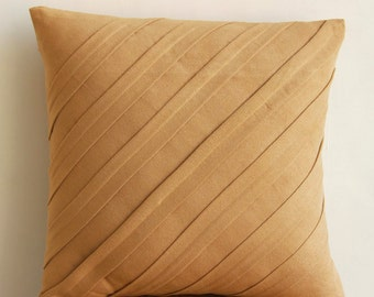 "Designer Tan Pillows Cover, 16""x16"" Faux Suede Pillows Covers For Couch, Square  Textured Pintucks Solid Color Pillowcases -Contemporary Tan"