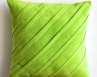 "Lime Green Decorative Pillows Cover,  Square  Textured Pintucks Solid Color 16""x16"" Faux Suede Pillowcase - Contemporary Lime"