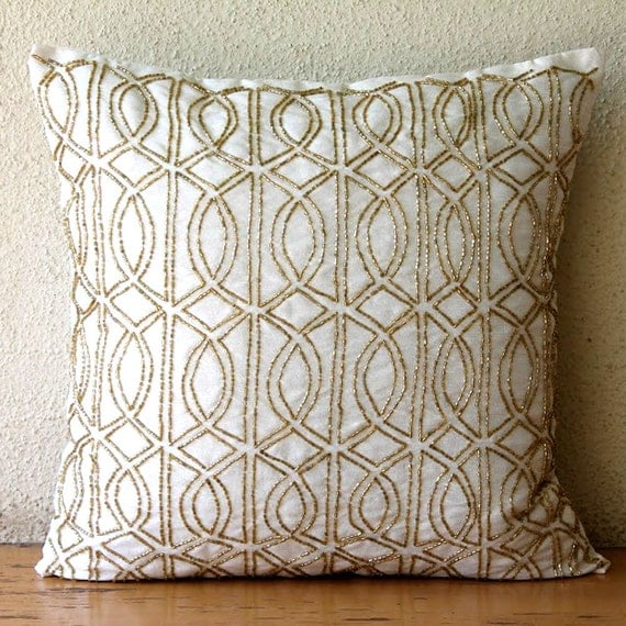 Decorative Throw Pillow Covers 20 Inch Silk Gold Ivory