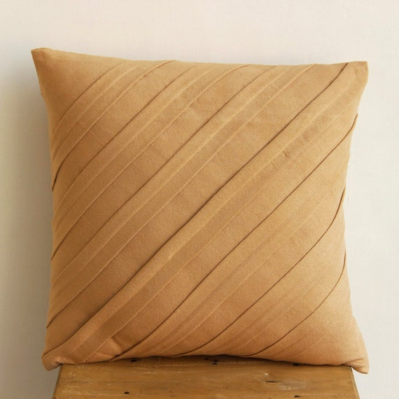 Designer Tan Pillows Cover 16x16 Faux Suede
