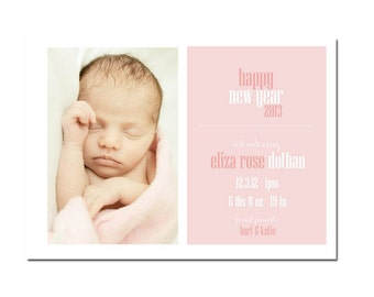 New Years Birth announcement Card - Digital file- Girl's Birth Announcement - Photo Birth Announcement