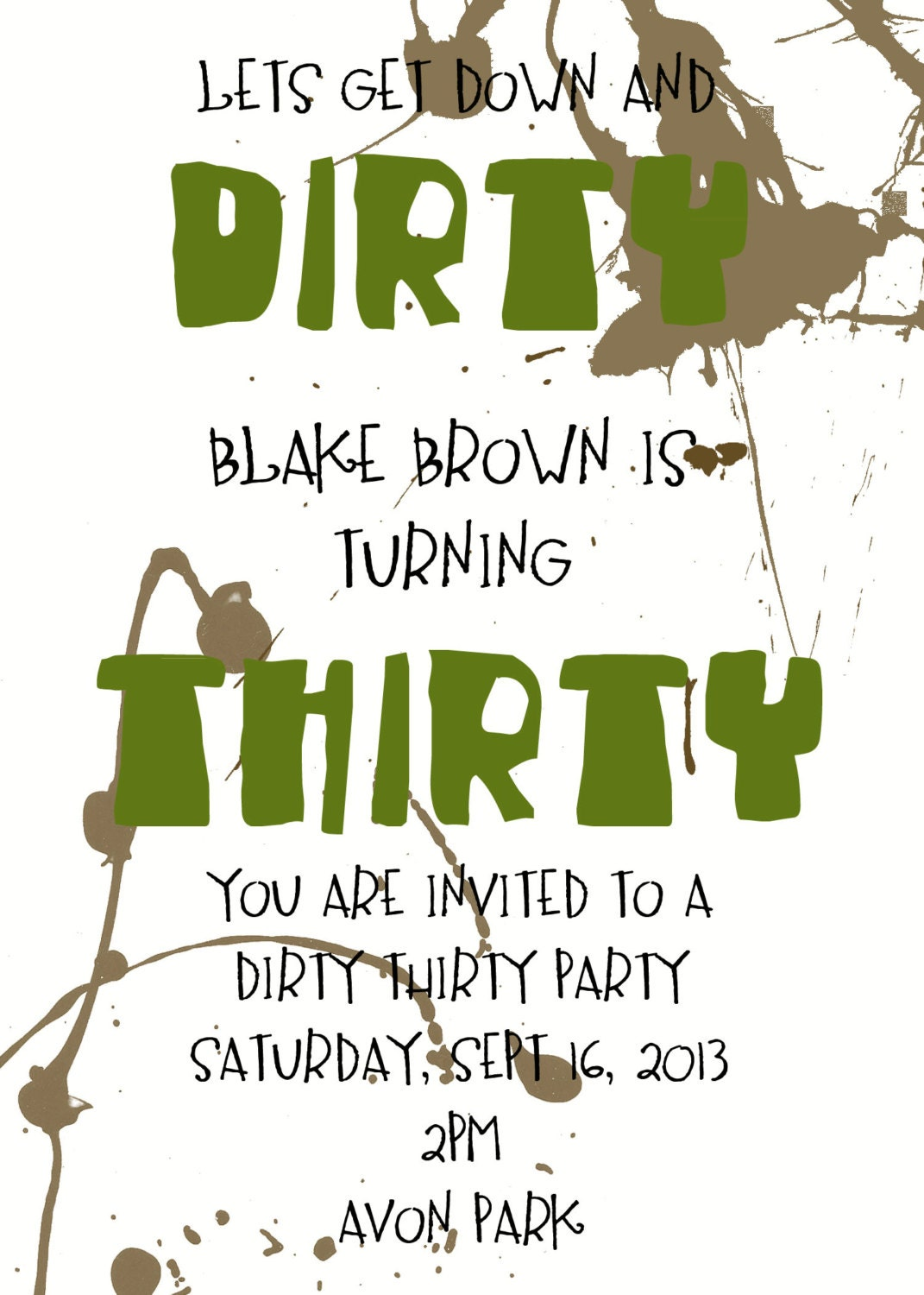DIRTY THIRTY PARTY invitation - Surprise Party invitation- 30th ...